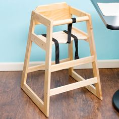 Lancaster Table & Seating Natural Finish Stacking Restaurant Wood High Chair - Unassembled