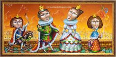 Royal Family painting sale by Zurab Martiashvili, none none . Family Painting, David, Unique Paintings, Pop Surrealism, Children's Book Illustration, Whimsical Art, Kids Gifts, Art For Kids, Colours