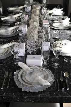 Dark wedding reception table decoration with lavender.