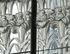 St Matthews church, Jersey - Lalique screen with Jersey Lilies, via Flickr.