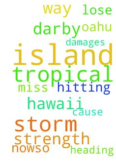 tropical storm -  	Lord tropical storm darby is heading our way in Hawaii , Lord please have it miss our island of Oahu , and please have it lose strength as its hitting the other islands now,�so it doesn't cause any damages to those islands in Jesus name i pray amen!  Posted at: https://prayerrequest.com/t/fsd #pray #prayer #request #prayerrequest