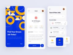 Job searching application by Fahime Rafiee Identity Design, Ux Design, Graphic Design, Application Design, App Ui, Find A Job, Job Search, New Job, Homescreen