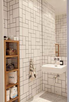 Gorgeous herringbone bathroom tiling via Cush and Nooks
