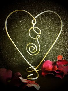 Wire Heart with Dangle Initial Wedding Cake Engagement Anniversary Topper A B C D E F G H I J K L M N O P Q R S T U V W X Y Z. $25.00, via Etsy.