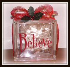Another lighted glass block diy. This site also has other examples for lighted glass block with a Christmas theme. All Things Christmas, Christmas Holidays, Christmas Decorations, Holiday Decorating, Merry Christmas, Christmas Vinyl, Christmas Lights, Decorating Ideas, Decor Ideas