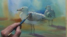 Seagulls in watercolor