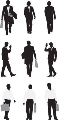 Vectores libres de derechos: Silhouette of businessmen walking