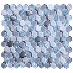 1x1 Hexagon Living Grey Glass and Marble Mosaic Tile #hexagon_glass_mosaic_tile #grey_marble_tile