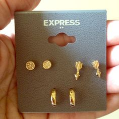 NWT Set of 3 Express Earrings Costume jewelry. Gold tone. Express Jewelry Earrings