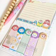 Matryoshka Dolls Page Flags & Memo Pad Pack - Russian Dolls Sticky Notes Kawaii Post It Cute School Supplies Bookmarks Cute (3.00 USD) by JuneberryCottage http://ift.tt/22RZ29B