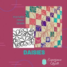 Featured Friday Design: Daisies #experiencethequilt #couchingonquilts #couching #longarmquilting #artquilt #ETQ #Quilt #Quilting Longarm Quilting, Machine Quilting, How To Finish A Quilt, Quilting Designs, Daisy, Quilts, Inspiration, Biblical Inspiration, Comforters