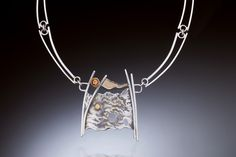 """Promise of Color"" neckpiece. MJ Sandman Jewelry. Reticulated and fabricated sterling silver, 14K gold, grossular garnet."