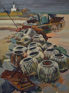 """François MEHEUT (1905-1981) """"Casiers et tombereau sur la plage devant le sémaphore"""""""