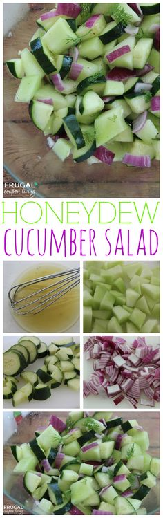 Honeydew Cucumber Salad Recipe, healthy summer picnic recipe that goes great with dinner. It's crisp, cool, and tastes amazing. Recipe on Frugal Coupon Living.