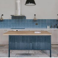 Blue Octagon encaustic Spanish tiles from Bert and May Modern Farmhouse Bathroom, Farmhouse Interior, Rustic Farmhouse, Industrial Style Lighting, Vintage Lighting, Kitchen Tiles, Kitchen Design, Bert And May Tiles, Blue Tiles