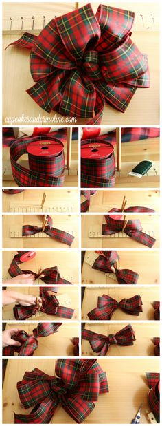 it Up - How To Make the Perfect Bow and Gift Wrapping Ideas How to Make Perfect Bows Every Time - it's all about the twist from How to Make Perfect Bows Every Time - it's all about the twist from Christmas Bows, Christmas Gift Wrapping, Christmas Projects, Holiday Crafts, Christmas Decorations, Holiday Decor, Christmas Trees, All About Christmas, Tartan Christmas