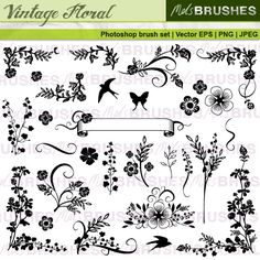This is a carefully put together set of 29 vintage style floral designs. There are corner images and also some bird and butterfly accents. Comine these to create endless possibilities. They are good for traditional and more formal occasions, such as wedding stationery and business invitations.  They work well alongside the Vintage Scrolls set