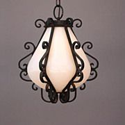 Vintage Blown Milk Glass & Iron Pendant Lamp Lantern Light