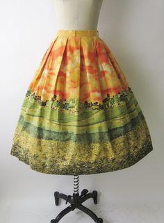 Wonderful 1950s county landscape novelty print skirt. #vintage #1950s #skirts #fashion
