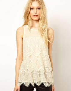 Lace Tiered Shell Top