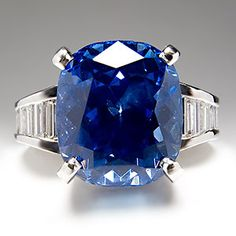11 Carat GIA No Heat Blue Sapphire Diamond Engagement Ring Platinum Mr Baguette | eBay
