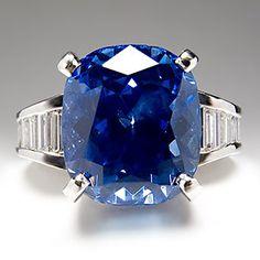 11 Carat GIA No Heat Blue Sapphire Diamond Engagement Ring Platinum Mr Baguette | eBay