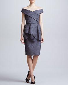 B26FS Lela Rose Off-the-Shoulder Flounce Dress, Charcoal