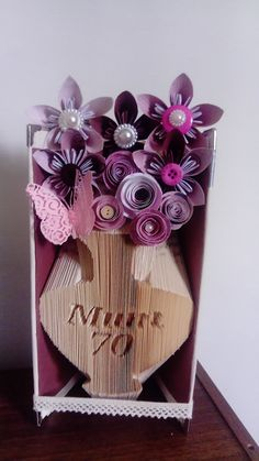 Any Name and Age Vase Book Folding Pattern (combination fold) by Meggymoonbeams on Etsy