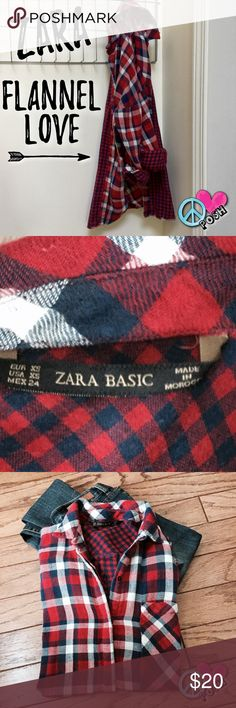 Flannel Plaid... Great for Layering !!! Zara Basic 💙 Flannel Plaid... Great for Layering for a Trendy Fall/Winter Look ❤️ Size XS 💙 Inside Red/Blue Checkerboard Outside Red White Blue Plaid ❤️  💗☮️💗 Preloved in Good Condition 💗☮️💗  ❌❌ NO TRADE ❌❌ Zara Tops Button Down Shirts
