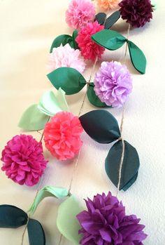 FLOWER VINE GARLAND / diy tissue paper pom pom garland / nursery decorations / wedding decorations / birthday party garland / party pompoms by PomLove on Etsy https://www.etsy.com/listing/206996034/flower-vine-garland-diy-tissue-paper-pom