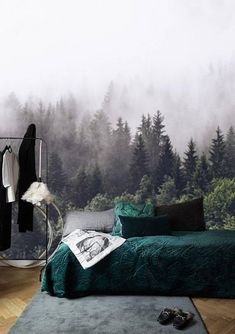 Foggy Forest Wallpaper Mural Peel and Stick Wall Paper, Removable Wallpaper Forest Mural Remove Wallpaper, Green Misty Forest Wall Mural - ecological Wallpaper Wall, Forest Wallpaper, Self Adhesive Wallpaper, Peel And Stick Wallpaper, Remove Wallpaper, Bedroom Wallpaper, Wallpaper Ideas, Foggy Forest, Decor Room