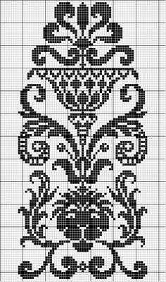 I can do this in filet crochet Cross Stitch Borders, Cross Stitch Flowers, Cross Stitch Charts, Cross Stitch Designs, Cross Stitching, Cross Stitch Embroidery, Cross Stitch Patterns, Filet Crochet Charts, Crochet Motifs