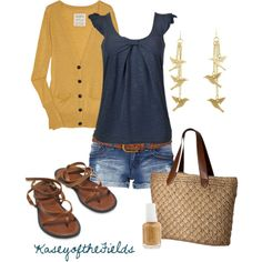 """Blue and Gold"" by kaseyofthefields on Polyvore"