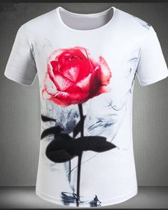 Rose t shirt 3D hand painted flower t shirts for men