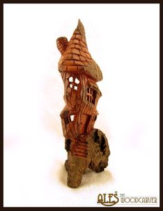 Whimsical house cottonwood bark carving  The by Alesthewoodcarver, $125.00