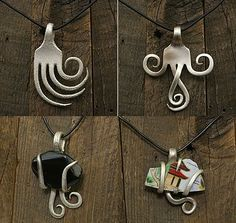 Great ideas on using old silverware for jewelry...the eclectic ark: How to Recycle Silverware into Art