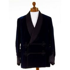 Superb mens vintage blue velvet smoking jacket. London bespoke tailored, silk velvet, dated 1965. Available now at Tweedmans Vintage.