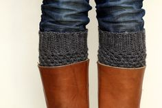 Crochet Boot Cuffs in Dark Slate Grey/Gray Turbulence by LumiStyle
