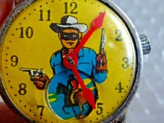 lONE RANGER CHILD'S TOY WATCH ANTIQUE VINTAGE TURN THE DIAL TONTO &OTHERS APPEAR #LONERANGER #VintageToy #Watch