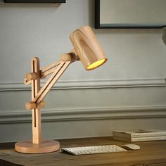 Unique Wooden Adjustable Desk Lamp with Wooden Shade and Sliding Arms - Decor 1 Wooden Desk Lamp, Adjustable Desk, Desk Light, Unique Lamps, Bedroom Lamps, Woodworking, Hanging Lamps, Floor Lamps, Beauty Care