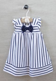 Beach portrait clothing Sailor Girl Striped Dress at Little Girl Outfits, Little Girl Fashion, Little Girl Dresses, Toddler Outfits, Baby Girl Dresses, Baby Dress, Vintage Girls Dresses, Fashion Kids, Striped Dress