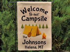 Welcome to our campsite garden flag. Weatherproof garden flag ready to decorate your camp site. Perfect gift for friends or family who enjoy camping in their tent. Features a cute tent campsite graphic. This listing is for the *** FLAG ONLY*** PURCHASE A 3-PIECE BREAKDOWN FLAG POLE HERE: https://www.etsy.com/listing/400009845  Please include following information in the NOTES TO SELLER section at checkout:  • LAST NAME • CITY AND STATE  REMEMBER: To make the last name plural, we simply add…