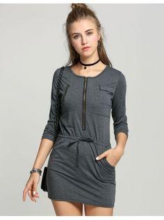 Vestido de manga comprida em torno do colar Zipper Casual Dress