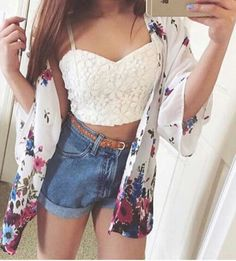 Image via We Heart It #beauty #fashion #girl #hotpants #luxury #makeup #outfit #style #summer #croptop #highwasted #ootd
