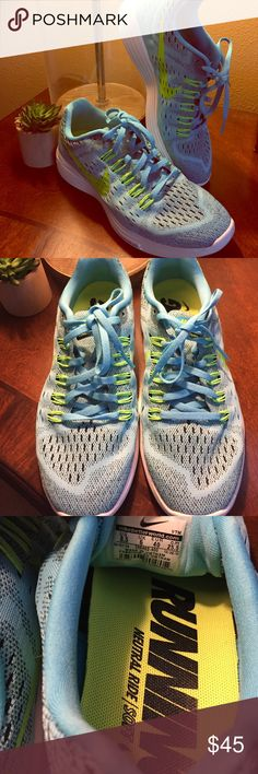 NIKE   Lunartempo Running Shoes Like new! Worn once in house. *Size is 8 1/2, but best for 8, as listed.* Online recommendations are to buy 1/2 size up. I wear 8 1/2, and these are just a bit snug, that's why I'm reselling. So cute, lightweight, lunarlon technology. Light blue and volt green. Nike Shoes Athletic Shoes