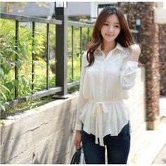 Long Sleeve Lace Chiffon Shirt