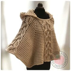 Milena Twist Cable Hooded Poncho  Crochet PDF Pattern