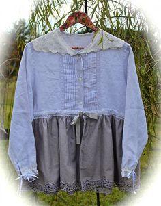 Boho Dove Grey Mori Shirt Rustic Lagenlook Over Shirt Jacket Romantic Prairie Linen