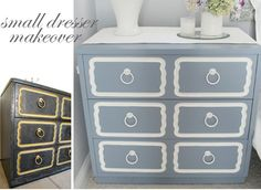 pictures frames on a 3 drawer dresser would also give a luxe look.