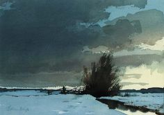 Edward Seago-Marsh Dyke,Winter